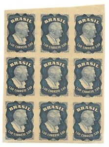 BRAZIL 1949 AIR MAIL IMPERF BLOCK OF 9 CREASE BETWEEN RIGHT STRIP OF 3 NEVER HIN $29.99