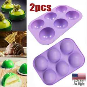 2Pcs 3D 6 Holes Half Ball Silicone Chocolate Mold Sphere Cake Baking Mold $7.99