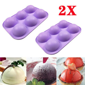 2Pcs 3D Half Ball 6 Cell Silicone Chocolate Mold Sphere Cupcake Cake Baking Mold $8.19
