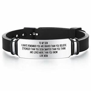 DESIMTION Gifts for Son from Mom to My Son Inspirational Engraved Bracelets