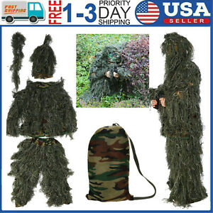 Adults Ghillie Suit 5 in 1 Camo Woodland Camouflage Forest Hunting Clothes USA