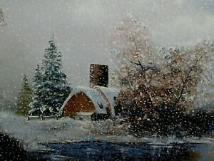 Christmas Gift: Barn Blizzard Snow Winter Landscape Vintage Original Painting $250.00