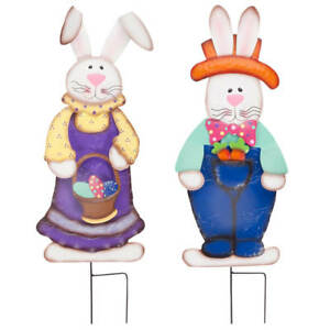 Easter Bunny Boy and Girl by Fox River Creations™ 2 Piece Set Metal Garden $42.99