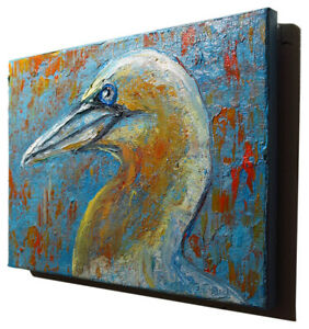 MODERN IMPRESSIONIST ART SIGNED REALIST OIL PAINTING ABSTRACT BIRD POP OUTSIDER $240.00