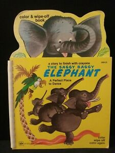 Rare Vintage Golden Book The Saggy Baggy Elephant Color Wipe Off Book 1981 $12.00
