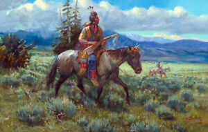 FRAMED CANVAS ART PRINT PAINTING FOLLOWING THE BUFFALO INDIAN HUNTING