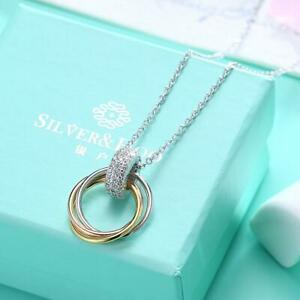 S925 Sterling Silver Necklace with Three Colour Coil Diamond Pendant Necklace
