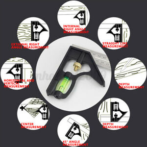 12#x27;#x27; Steel Measuring Angle Tool Rule Protractor Combination Tri Square Ruler $12.98