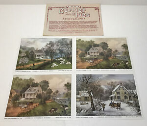 4 Vintage Currier and Ives Lithographs American Homestead The Four Seasons 5x7 $7.99
