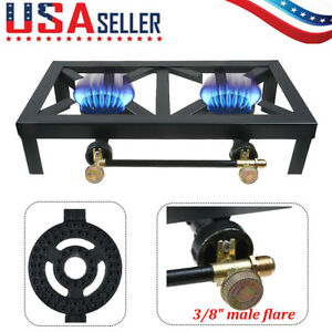 Portable Double Burner Iron Propane LPG Gas Stove Outdoor Camping Cooker BBQ