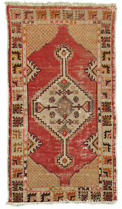 Hand Made Vintage Turkish Milas 2#x27;6quot; x 4#x27;7quot; Area Rug $75.00