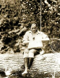 Woman Fishing in Maine Vintage Old Photo 8.5quot; x 11quot; Reprint