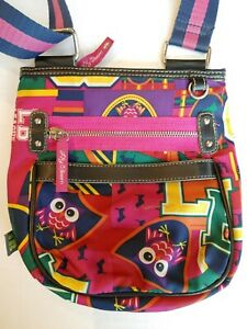 Lily Bloom Owl Crossbody purse Pink Purple Green Prep League Leather Dogs Clean