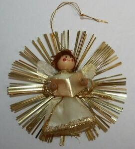 Vintage Tinsel Trim Angel Wood Head Christmas Ornament