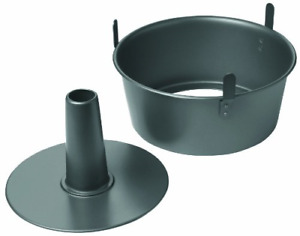 Professional Non Stick 2 Piece Angel Food Cake Pan with Feet 9.5 x 4 Black