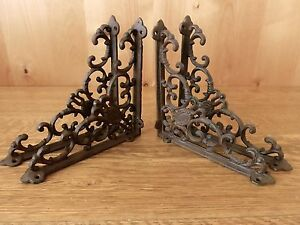 4 BROWN ANTIQUE STYLE 8quot; SHELF BRACKETS CAST IRON garden wall rustic VICTORIAN
