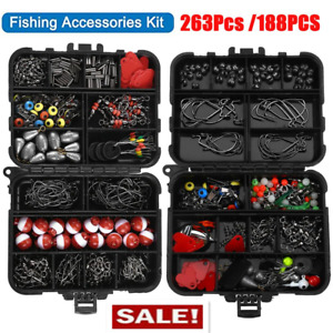 188 263 PCS Fishing Accessories Kit Set with Tackle Box Pliers Jig Hooks Bullet