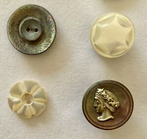 Assortment of 4 Antique and Vintage Mother of Pearl and Abalone Buttons $9.95