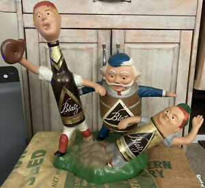Blatz Beer Point Of Purchase Figurine Heavy Diecast Metal Of 3 Baseball Players $400.00