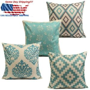 Vintage Aqua Mint Green Home Decor Cotton Linen Cushion Cover Throw Pillo $6.83