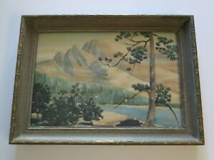 ANTIQUE AMERICAN LANDSCAPE PAINTING CARVED FRAME SIGNED MOUNTAIN VIEW PLEIN AIR $250.00