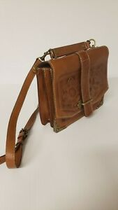 PATRICIA NASH 100% Italian leather BROWN LEATHER CROSSBODY BAG
