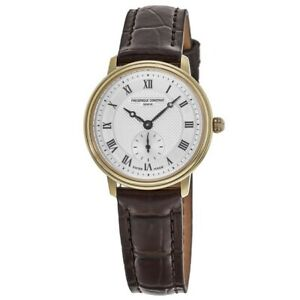 New Frederique Constant Slimline Silver Dial Brown Women#x27;s Watch FC 235M1S5