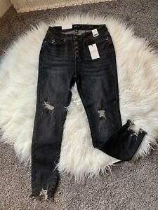 NWT Judy Blue Jeans High Rise Distressed Button Fly Size 11 30