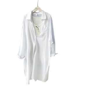 Stylish Lady Long Sleeved Solid White Long Shirts Blouses for Spring Summer $17.58