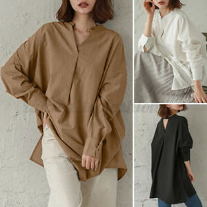 Womens Full Sleeve Button Down Cotton Tops Blouse Solid Loose Ladies Long Shirts $16.99