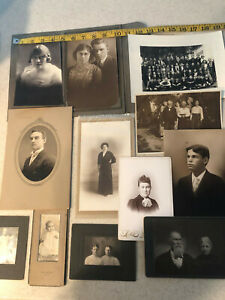 VINTAGE ANTIQUE PHOTOGRAPHS INCLUDING CABINET PHOTOS LOT OF 17 GROUPS PEOPLE $27.50