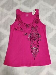 Lane Bryant Womens Hot Pink Tank Top Sleeveless Stretch Size 14 16 Cotton New $12.99