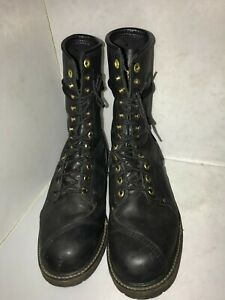 Size 10 EE Carolina Steel Toe Work Boots Black Leather 9quot;