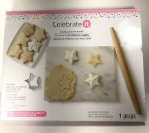 """Marble Pastry Board """"Celebrate It"""" 16""""x13"""" New"""