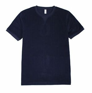 American Apparel Mens Shirt Navy Blue Size Large L French Terry Loop Tee $42 119 $7.99