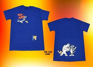 New Tom and Jerry Two Sided Hanna Barbera 1940 Blue Men#x27;s Vintage T Shirt $21.95