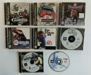 Lot of 8 Sony Playstation PS1 Assorted Sports Games EA 989 Golf Football Nascar