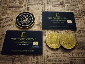 John Wick gold coins and cards set. Adjudicator coin. Continental Hotel cards. $34.95