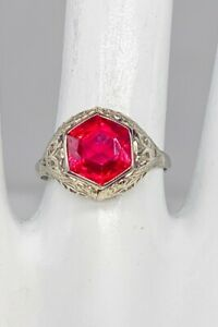 Antique Edwardian 1900s Ostby amp; Barton 2ct Fancy Cut RUBY 14k Gold Filigree Ring