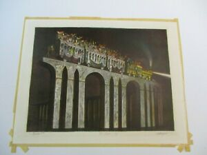 FINEST JOSEPH MUGNAINI LITHOGRAPH ABSTRACT EXPRESSIONISM TRAIN MODERNISM SIGNED $957.00