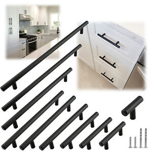 Matte Black Modern Cabinet Handles Pulls Kitchen Drawer Stainless Steel Hardware $1.78