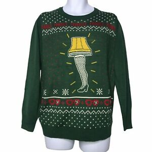 A Christmas Story Leg Lamp Nordic Green Ugly Sweater M $21.24