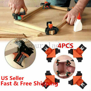 4Pcs Kit 90 Degree Right Angle Clip Clamps Corner Holders Woodworking Hand Tools $12.09