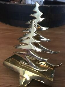 Solid Brass Double Tree Christmas Mantle Stocking Holder $22.00