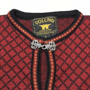 Volund Norwegian Lambswool Fair Isle Red Black Cardigan Sweater Womens L