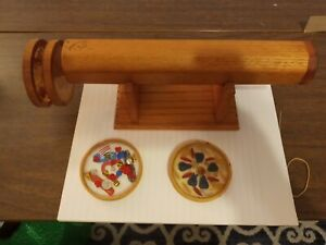 1992 Oak Wood Kaleidoscope Signed by Laughing Coyote With 4 Wheels amp; Stand
