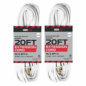 20 Ft White Extension Cord 2 Pack 16 2 Durable Electrical Cable
