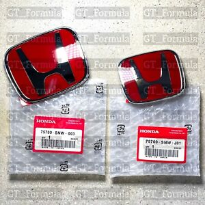 2pcs Honda Civic Sedan 4Dr 06 15 Red JDM H Front Rear Type R emblem grille set $37.99