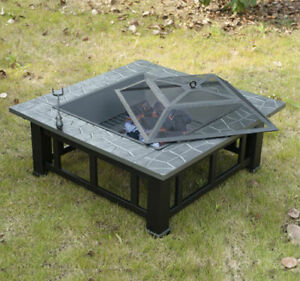 Outdoor Patio Fire Pit Backyard Deck Steel Heater 32quot; Square Fireplace w Cover $39.99