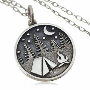Camping in the Woods Charm Necklace 925 Sterling Silver 18quot; Tent Vacation Fire